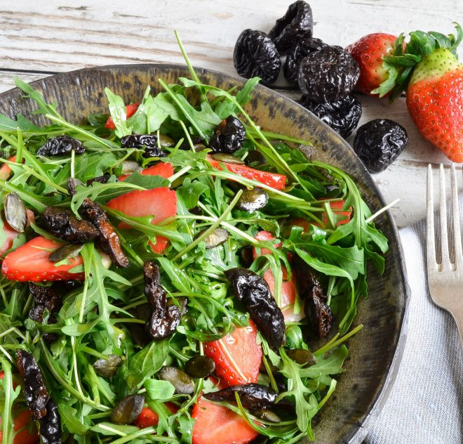 Arugula Salad with California Prunes and Strawberries