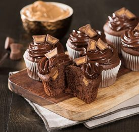 Double Chocolate Peanut Butter Cupcakes