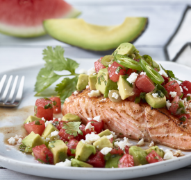 Broiled Salmon with Watermelon-Avocado Salsa
