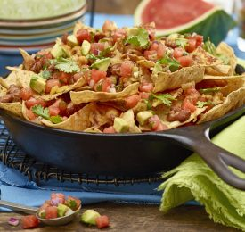 Nachos with Watermelon Avocado Salsa