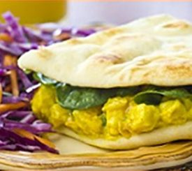 Curried Orange Chicken Naan Sandwiches
