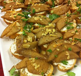 Balsamic-Glazed Pear and Goat Cheese Crostini