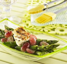 Grilled Asparagus, Grapes and Haloumi with Lemon Vinaigrette
