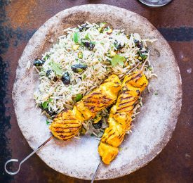 Fruity Rice Pilaf with California Prunes and Grilled Chicken Skewers