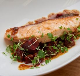 Salmon with Sweet & Sour Californian Prune Sauce with Beet Salad