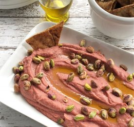 "Lemony Beet ""Hummus""with Poached Pistachios"