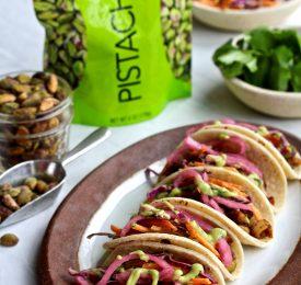 Wonderful Pistachios Street Tacos with Avocado Pistachio Cream Slaw