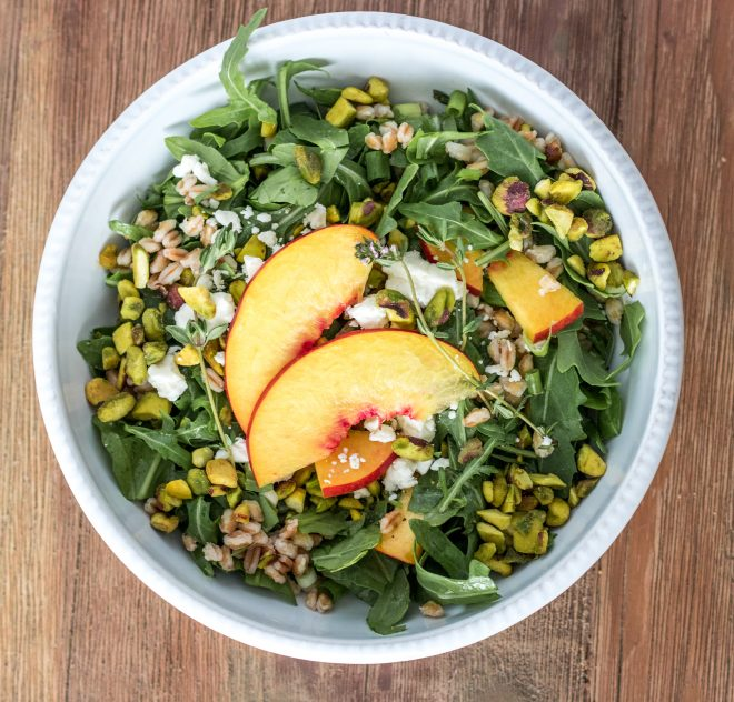Wonderful Pistachios Summer Salad with Fresh Nectarines & Arugula