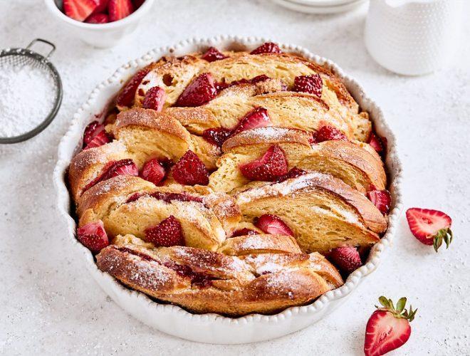 Baked Strawberry Mascarpone French Toast