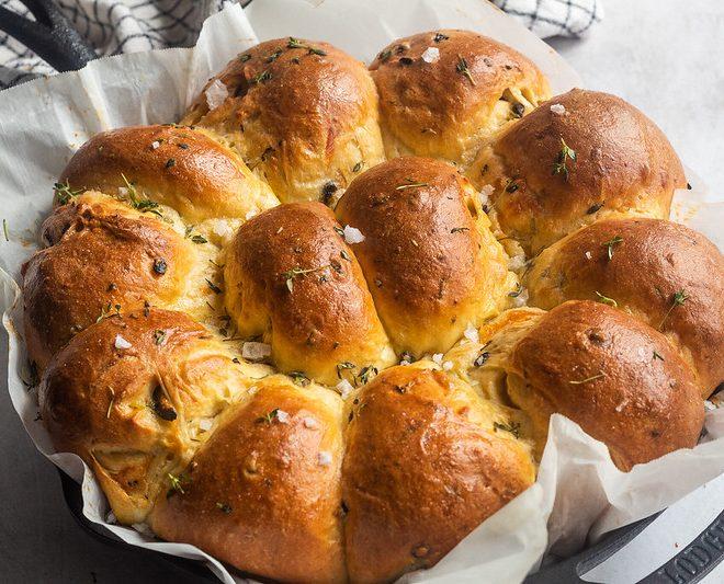 Cheesy Stuffed Green Chile Olive Bread by Britney Breaks Bread